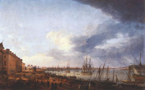Port de Bordeaux à la fin du XVIIIème par Vernet, ou le brick côtoyait de nombreux navires
