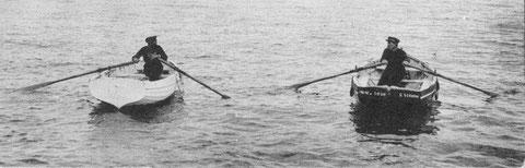 2 canots à l'aviron à Dinard, le canot blanc à clin, certainement une annexe de yacht n'a pas de trou de godille