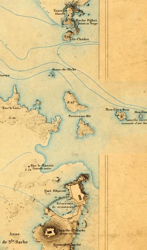 Extrait de l'atlas des ports de France de 1877 Men Gwen Bras est une tourelle noire surmontée d'une balise