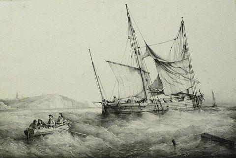 Le chasse-marée Edmond-Eugène pouvait ressembler à ce petit caboteur bas-breton représenté sur cette gravure de Bernard Lemercier d'après une peinture de Ferdinand Perrot de 1840