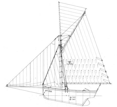 """Plan de voilure du Jouet des flots, tracé par Jean Le Bot. """"Bateaux des cotes de Bretagne nord"""" edition Glénat"""