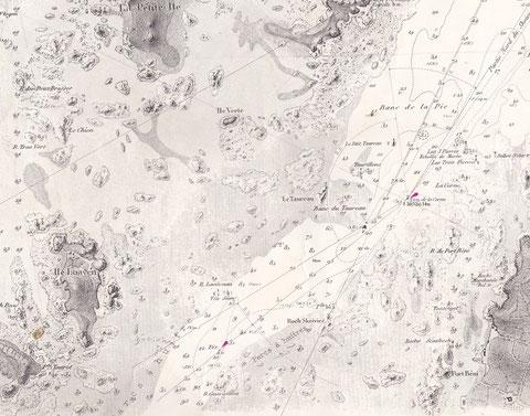 Les lieux du naufrage, extrait de la carte 972, passes de la rivière de Tréguier