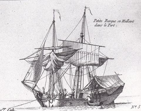 Cette barque est certainement plus archaïque que le « Jean-Marie » l'absence de brigantine lui donne un  aspect début XVIIIème  gravure de Pierre Ozanne