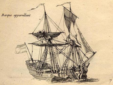 Sur cette gravure, Pierre Ozane nous montre une « barque » du XVIIIe. Trois hommes sont en train de mettre l'ancre à poste ;l'un d'eux, debout sur le jas, semble crocher le palan de candelette de misaine, ce bateau étant dépourvu de bossoirs