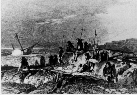 La foule se rassemble sur la côte en cas de naufrage