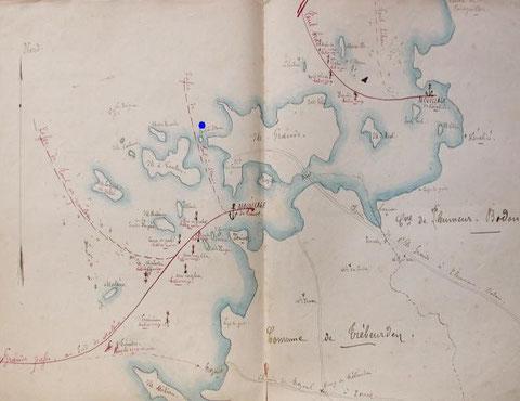 Projet de balisage de l'île Grande de 1896 en bleu le lieu du naufrage, le capitaine pensait peut être emprunter le chenal de Toul ar Staon  (trou de l'étrave) entre l'île grande et l'île Canton ce chenal ne peut être pratiqué qu'à pleine mer sans houle