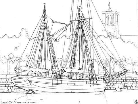 Lannion , L'Amphitrite de Lorient, dundée de cabotage le long du quai d'Aiguillon, la corne de charge est sur le mât d'artimon, les voiles semblent sous étui, il décharge peut être du charbon du pays de Galles