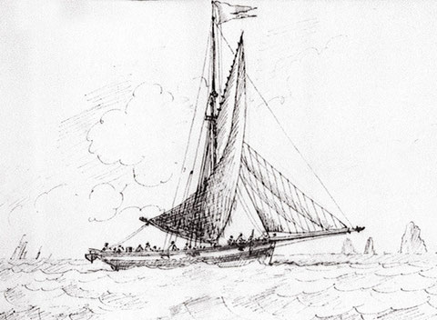 Cotre des douanes anglaise courant vent arrière par le travers des Needles  vers 1840 gravure de Eagles et  Edward Bamfylde (National Maritime Museum)