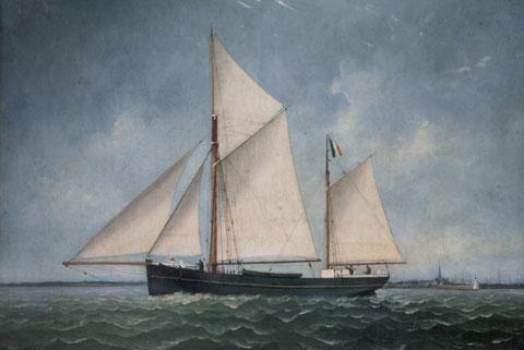 """Le dundée « Lucienne » pouvait ressembler à celui-ci Dundee """"Adolphe"""" en 1894 commandé par C. Achevis dans le Morbihan"""