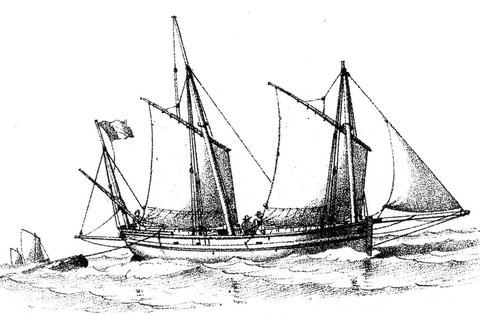 Lougre de cabotage, début XIXème, Le lougre Le Pellerin de Roscoff devait être bien plus petit car il jaugeait seulement  11 tx  82/94 ème