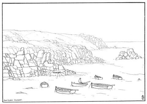 Ouessant le mouillage de Galgrac'h dans le nord de l'île, les canots amarrés à leur va-et-vient avant que le Mykonos ne vienne obstruer ce petit port