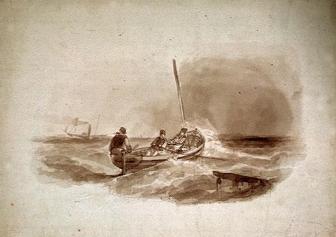 Les marins de Roscoff n'hésitaient pas à traverser la Manche ou à rejoindre les îles Anglo-Normandes dans des canots à la voile et à l'aviron, lavis postérieur à ce récit comme le montre le vapeur (coll National Maritime Museum)