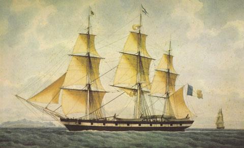 Le Rubens trois-mâts baleinier français du Havre construit en 1837 aquarelle de Frédéric Roux