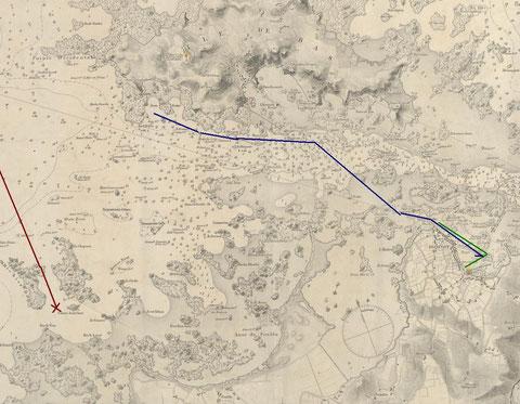 Extrait de la carte marine anglaise de 1886, en vert la première sortie, en bleu la seconde sortie, en rouge la route supposée du Vendée et le lieu du naufrage (Latitude : 48°43'1679  N  Longitude : 004°02'9073  W)