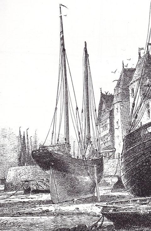 Le Zéphir au port de Tréguier, construit avant 1886 à Paimpol et armé à Loguivy à des formes particulièrement fine et doit être bon marcheur Dessin de Faudacq