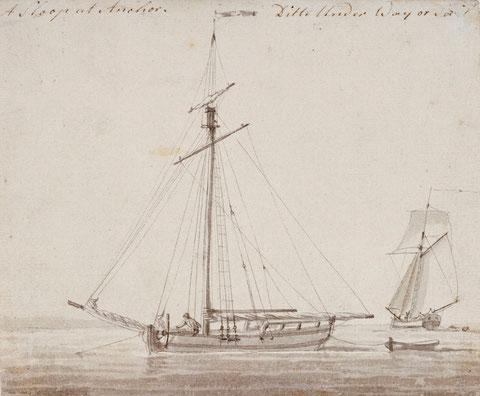 Petits cotres de cabotage au mouillage et sous voile  (National Maritime Museum)