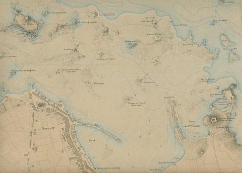 Carrec ar gwin, la roche au vin (soulignée en rouge) sur cette cartes extraite de l'atlas des ports de France d e 1877