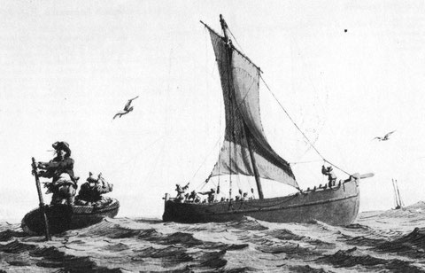 Canot à la godille rejoignant un bateau traversier, lavis de Pierre Ozanne vers 1780