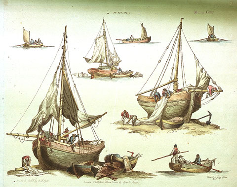 Petits sloops anglais en 1802 par William Henry Pyne