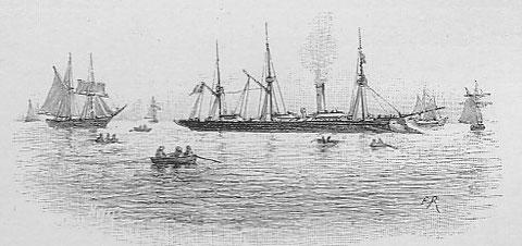 Un croiseur de la marine en assistance sur les lieux de pêche (illustration de Pêcheur d'Islande de Pierre Loti par Edmond Rudaux)