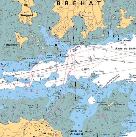 Extrait de la carte SHOM 7127 Roc'h Ourmelek est  dans le chenal du Ferlas