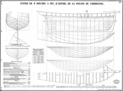 Le cotre « Aigle » de la douane de Cherbourg  longueur : 15,94 m au pont, bau : 4,20 m creux : 3,24 m tirant d'eau en charge 2,37 m (plan de la première moitié du XIXème siècle, Atlas du Génie maritime)