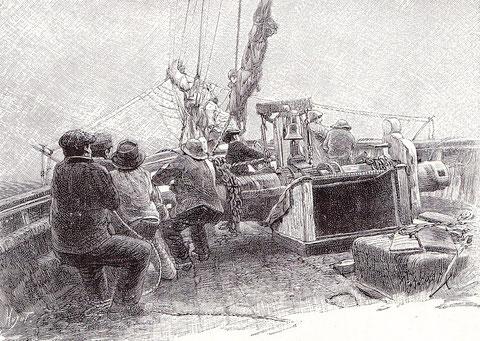 A déhaler une aussière à l'avant d'une goélette d'Islande, on voit bien le fort guindeau à brinbales   (illustration de Pêcheur d'Islande de Pierre Loti par Edmond Rudaux)