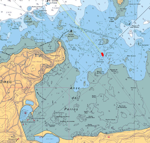 Le lieu du naufrage, extrait carte SHOM 7125