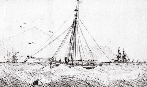 Cotre au mouillage par bonne brise et mer formée  un matelot cale bas le mât de hune, le mouillage dans le chenal ne devait pas etre toujours confortable  (National Maritime Museum)