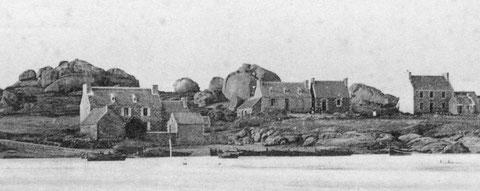 Le port de Ploumanac'h, la cale de Pen ar Crec'h  avant 1900, le canot le plus à droite est certainement celui du pilote, reconnaissable à sa peinture noire et blanche