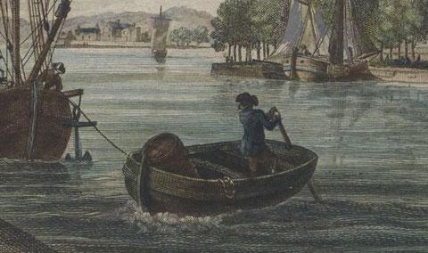 Canot à la goudille dans le port de Landerneaux gravure de Pierre Ozanne vers 1780