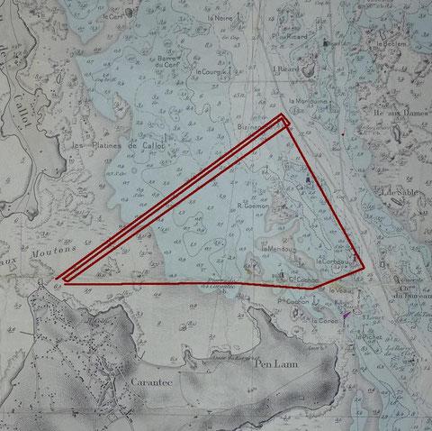Parcours moderne en triangle de la régate de la coupe du Kreisker (carte SHOM baie de Morlaix)