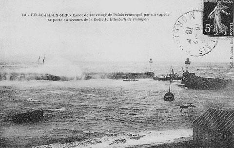 Le vapeur « Ville du Palais » remorque le canot de sauvetage pour se porter au secours de l'équipage de la goélette
