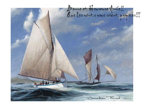 Le Reder-Mor, cordier de Roscoff et la Cancalaise bisquine de Cancale par Jonathan Florent
