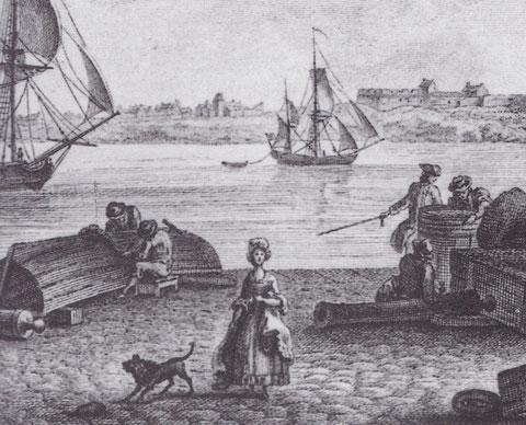 Dogre quittant, Saint-Malo, gravure de Nicolas Ozanne  « vues des ports de France » vers 1887