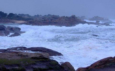 Le lieu du naufrage par très gros temps : le chenal d'entrée de Ploumanac'h, à gauche la petite plage est sur l'île de Costaéres , au centre les rochers ou s'est  fracasser le « Maurice »