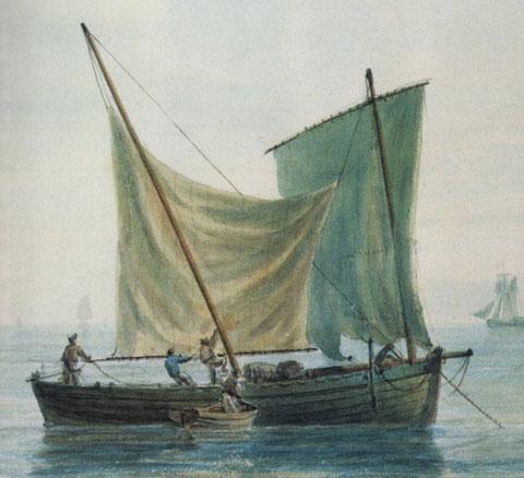 Type de navire marchand : chasse marée, au mouillage, faisant sécher ses voiles. détail d'un tableau de Vernet