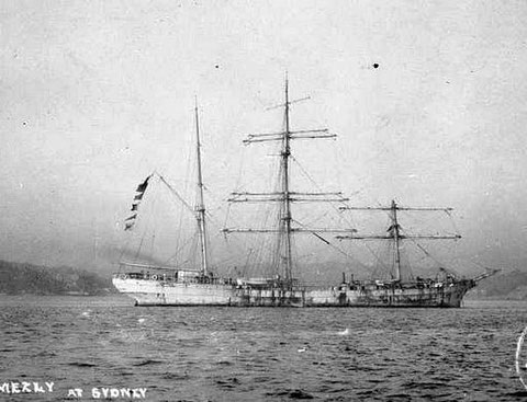 Le Mezly à Sydney en 1910 en escale suite à son démâtage de son petit mât de hune
