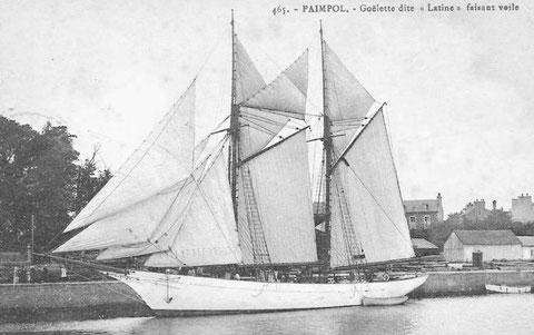 Goélette franche également appelé goélette latine certainement un ancien yacht armé à Islande à Paimpol