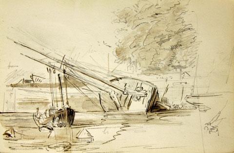 Goélette abattue en carène dans le bassin de Paimpol, dessin de Faudacq