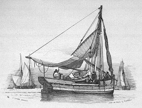 Smack de pêche anglais de type ancien vers 1820  (National Maritime Museum)