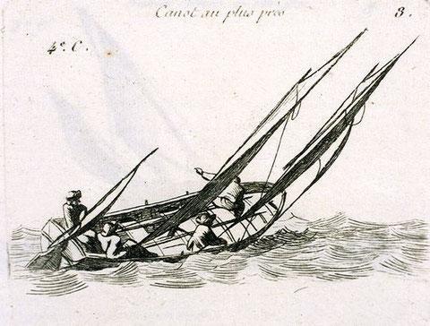 Les plus petits smogleurs anglais étaient à peine plus grand que ce canot, gravure de Pierre Ozanne