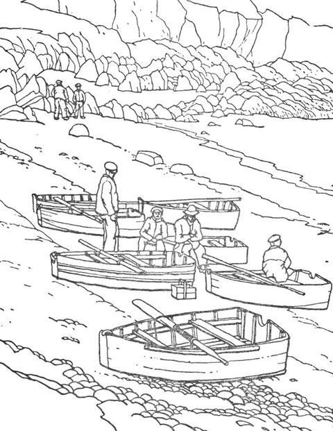 Marins et plates à Ouessant, l'aviron amarré à la serre en travers du canot sert à le porter