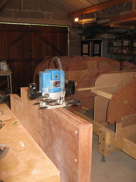Usinage du dessus en bois du puits de dérive