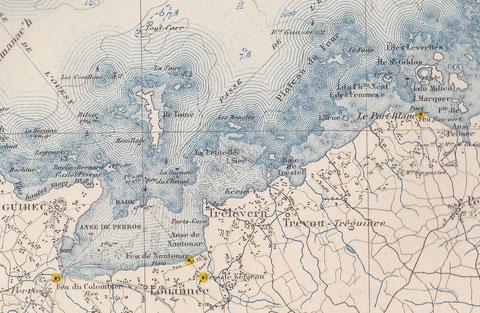 Les lieux du naufrage, le Nicolo Accame à certainement fait côte  sur les Moucles ou d'autres roches du plateau au nord de Trélévern (extrait d'une carte de l'atlas des ports de France)