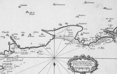 Carte de Belin  1764 de l'île de Bas à Guissény, Plouguerneau est juste dans l'ouest, île de Sieck est notée Ile St Jean