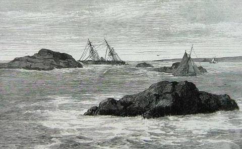 Cette gravure du naufrage du vapeur anglais Boyne à Molène en 1875, peut faire penser au Vendée dans les roches de Santec avec au second plan l'île de Batz