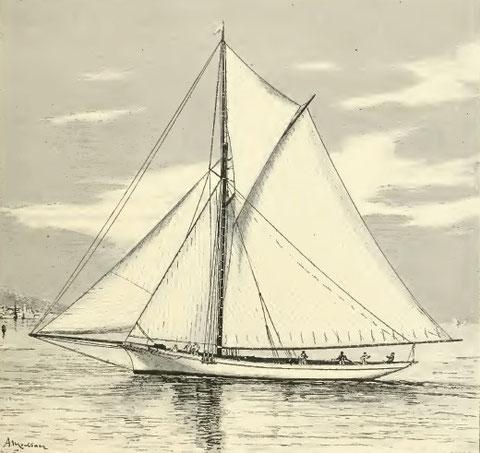 Gallia  du Y.C.F à M. Lhoste gravure publié dans le Yacht de Philippe Daryl 1890 Est-ce ce yacht que le capitaine Yves Floch a commandé en aout 1889 ?