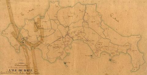 Plan d'assemblage du cadastre de l'île de Batz en 1846, les principaux quartier sont : Le Ru, Le Vénoc, Kénécaou, Pors an Eog, le Vil, et au nord Goales