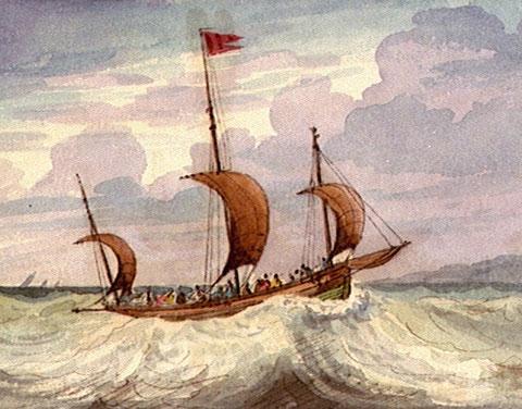 Lougre courant vent arrière, peinture de Edward Bamfylde (National Maritime Museum)